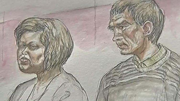 Stéphanie Livet et Didier Barbot à l'ouverture de leur procès, le 14 janvier 2016, à Nantes (Loire-Atlantique). (FRANCE 3)
