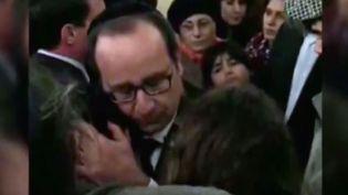 François Hollandele 9 janvier 2015dans la Synagogue de la victoire à Paris. (FRANCE 3)