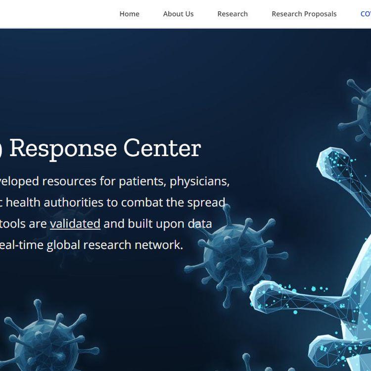 Capture d'écran de la page du site internet de l'entreprise américaine Surgisphere, consacrée à ses outils développés pour le Covid-19, le 5 juin 2020. (SURGISPHERE)