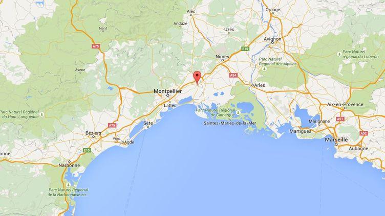 Capture d'écran de Google maps pointant Lunel (Hérault) où la locomotive d'un train espagnol à grande vitesse a pris feu, le 2 août 2015. (GOOGLEMAPS)