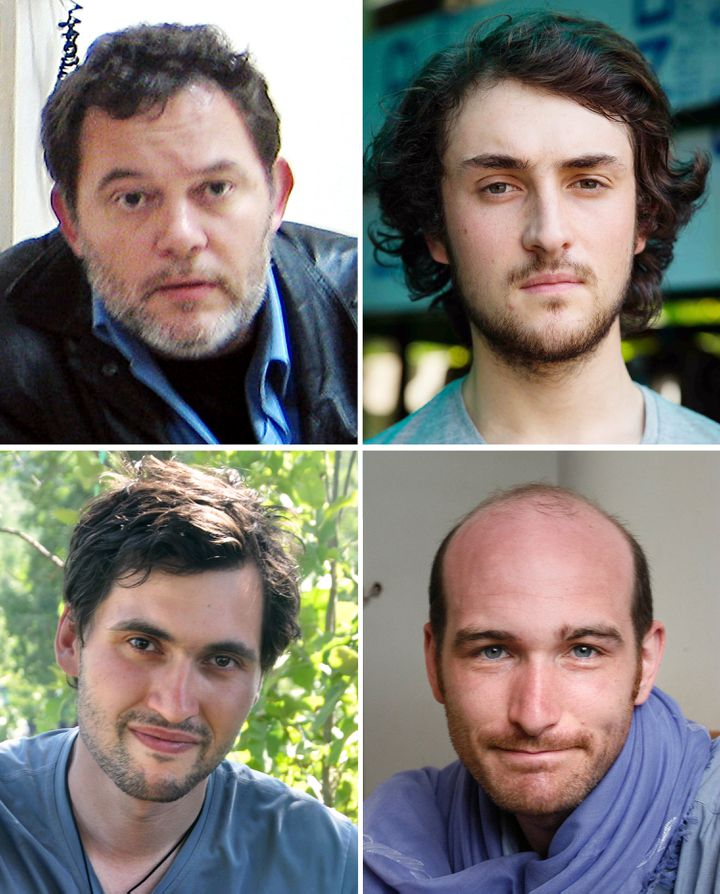 De gauche à droite et de haut en bas : Didier François, Edouard Elias, Pierre Torrès et Nicolas Hénin, anciens otages en Syrie. (DESK / HAYTHAM/TORRES FAMILY/BENOIT SCH)
