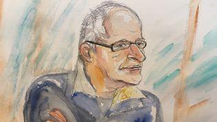 Francis Heaulme dans le box des accusés, au premier jour de son procès, le 25 avril 2017. (ELISABETH DE POURQUERY / FRANCEINFO)