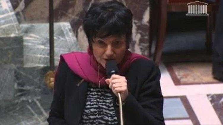 Capture d'écran - Dominique Bertinotti, ministre de la Famille, à l'Assemblée nationale sur el débat pour le mariage des homos mardi 29 janvier 2013 (LCP / FRANCETV INFO )