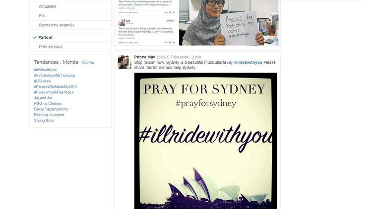 Capture d'écran de Twitter affichant les résultats du hashtag #illridewithyou, qui a émergé sur les réseaux sociaux lors de la prise d'otage en cours à Sydney (Australie), le 15 décembre 2014. (TWITTER)