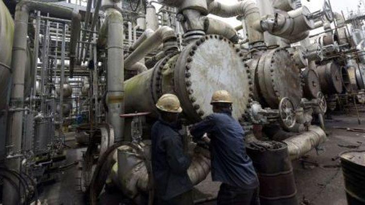 Des ouvriers nigérians intervenant dans une raffinerie de pétrole à Port Harcourt (sud du Nigeria), le 16 septembre 2015. (PIUS UTOMI EKPEI / AFP)