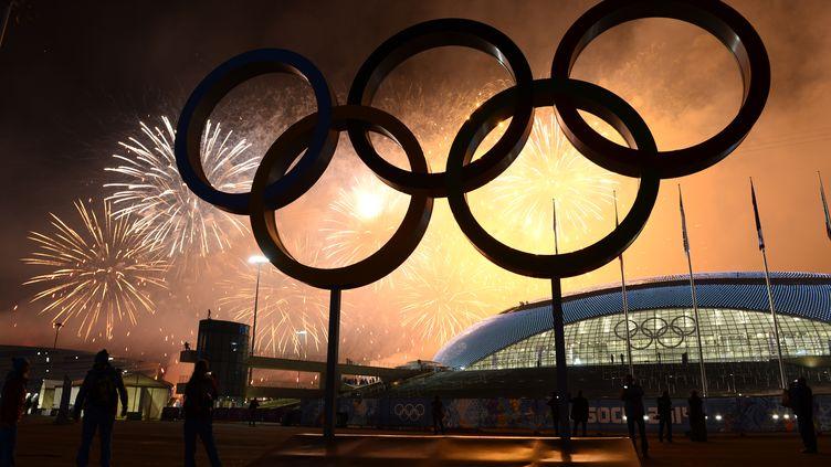 Un feu d'artifice est tiré lors de la cérémonie de clôture des Jeux Olympiques d'hiver de Sotchi, en Russie, le 23 février 2014. (JONATHAN NACKSTRAND / AFP)