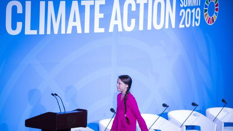 Greta Thunberg,militante suédoise pour la lutte contre le réchauffement climatique au Sommet sur le climat aux Nations Unies, à New York le 23 septembre 2019. (JOHANNES EISELE / AFP)
