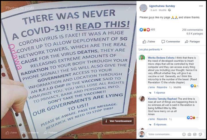 Capture d'écran d'un post Facebook conspirationniste faisant le lien entre Covid-19 et 5G, en avril 2020. (FACEBOOK)