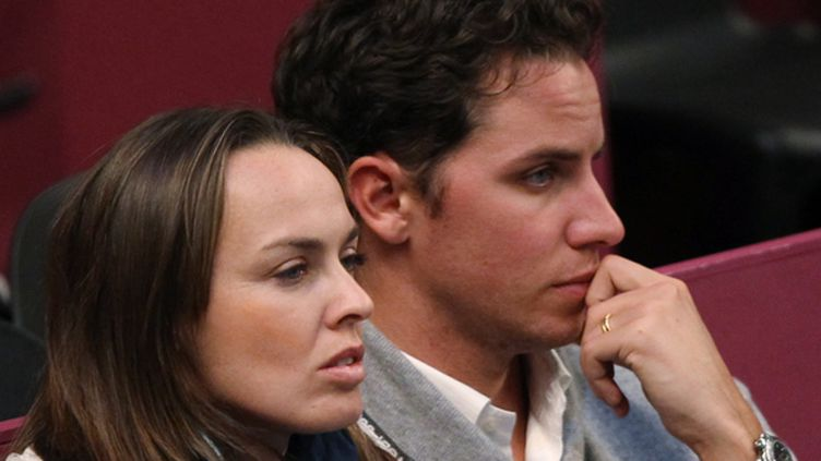 Martina Hingis et son mari, Thibault Hutin (JACQUES DEMARTHON / AFP)