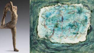 """A gauche, Auguste Rodin, """"Mouvement de danse A"""" - à droite,Jean Fautrier, """"Forêt (Les Marronniers)"""", 1943, don de l'artiste en 1964, Musée d'art moderne de la Ville de Paris  (à gauche musée Rodin, photo C. Baraja - à droite, photo © Eric Emo / Parisienne de photographie © Adagp, Paris 2017)"""