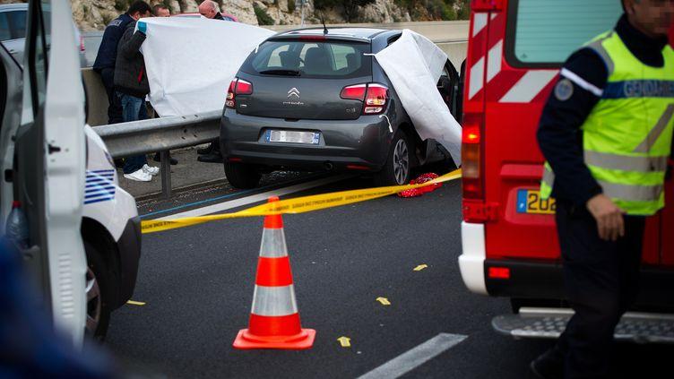 La police enquête sur l'A7, où un conducteur a été tué près de Lançon-de-Provence (Bouches-du-Rhône), lundi 24 mars 2014. (BERTRAND LANGLOIS / AFP)
