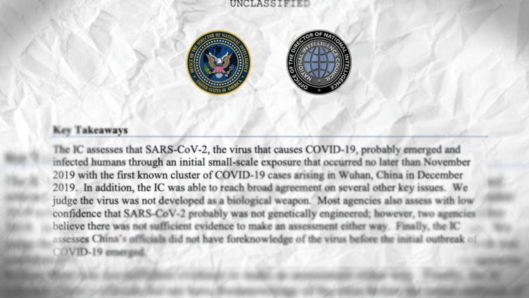 Un extrait de la note déclassifiée des renseignements américains sur l'origine du virus Sars-CoV-2, publiée le 27 août 2021. (NATIONAL INTELLIGENCE COUNCIL / FRANCEINFO)