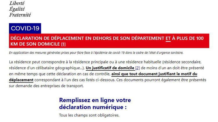 Capture d'écran de l'attestation de déplacement de plus de 100 km mise en ligne sur le site du ministère de l'Intérieur le 11 mai 2020. (MINISTERE DE L'INTERIEUR)