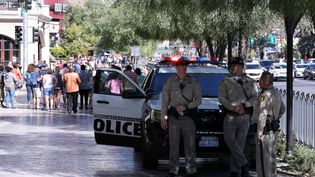 La police sécurise la ville de Las Vegas (Nevada), le 3 octobre 2017. (BILGIN SASMAZ / ANADOLU AGENCY / AFP)