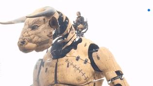 """Una araignée géante et un Minotaure de 12 mètres de haut sont entrés vendredi 2 novembre dans la ville de Toulouse (Haute-Garonne). La compagnie """"La Machine"""" parade dans la ville rose pour une durée illimitée. (FRANCE 3)"""