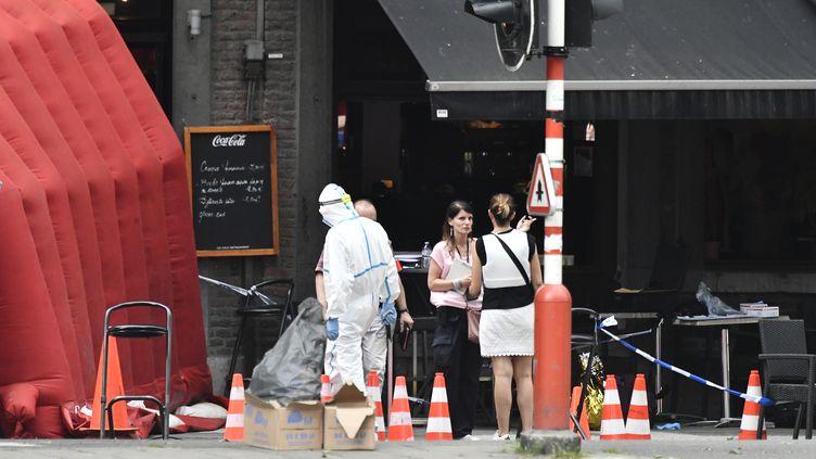 La scène où s'est déroulée une partie de l'attentat de Liège le 29 mai 2018 en Belgique. (ERIC LALMAND / BELGA)