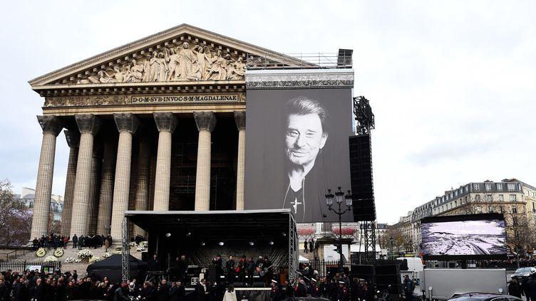 Les funérailles de Johnny Hallyday à la Madeleine en décembre 2017.  (Bertrand GUAY / AFP)