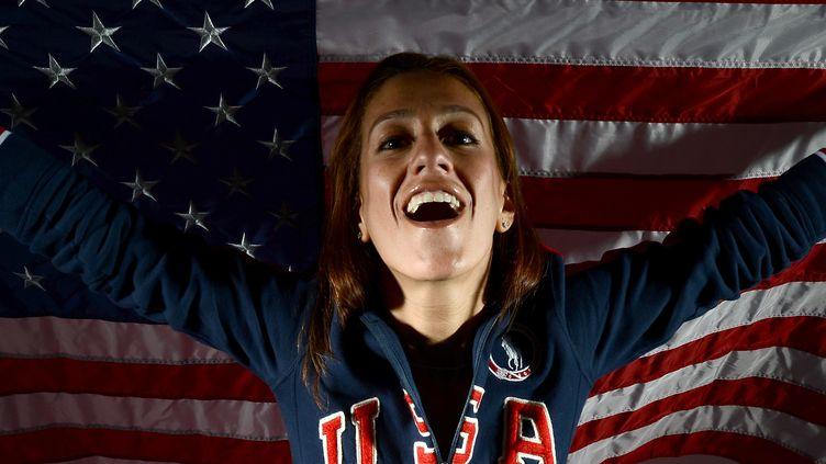 Photo de Diana Lopez, membre de l'équipe américaine de taekwondo, réalisée pour les JO de Londres, le 23 mai 2012 à Dallas (Etats-Unis). (JOE KLAMAR / AFP)