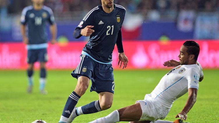 Javier Pastore a réussi un match plein contre l'Uruguay. (MARTIN BERNETTI / AFP)
