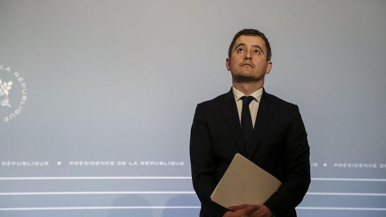 Le ministre de l'Action et des Comptes publics, Gérald Darmanin, lors d'une conférence de presse à Paris, le 18 mars 2020. (LUDOVIC MARIN / AFP)