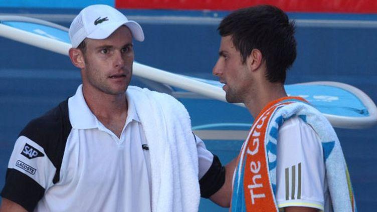 L'Américain Andy Roddick et le Serbe Novak Djokovic durant l'Open d'Australie en 2009