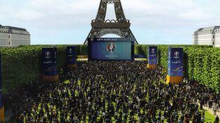 """Image de synthèse de la """"fan zone"""" du Champ-de-Mars, à Paris, présentée par la maire de la capitale, Anne Hidalgo, le 9 mai 2016. (MAXPPP)"""