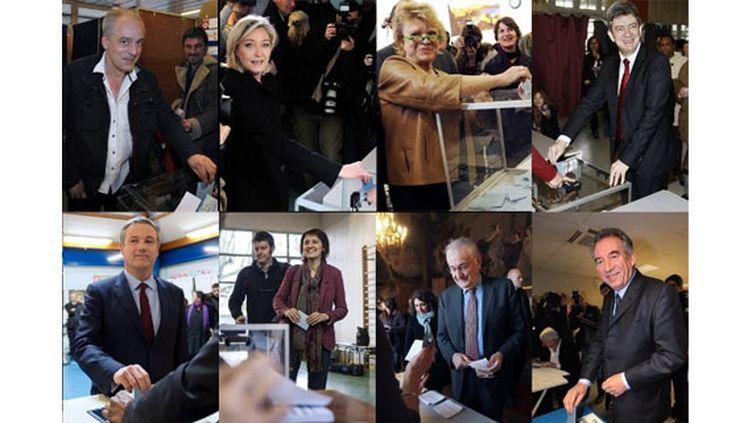 Les candidats à l'élection présidentielle éliminés lors du premier tour, le 22 avril 2012. (MONTAGE / AFP)
