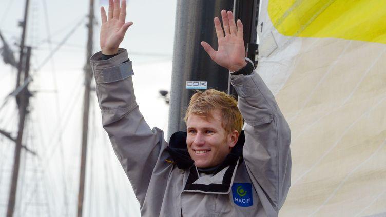 Francois Gabart, skipper deMacif au départ du Vendée Globe le 10 novembre 2012 auxSables d'Olonne (DAMIEN MEYER / AFP)