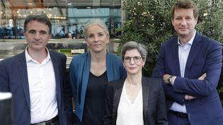 Eric Piolle, Delphine Batho, Sandrine Rousseau, Yannick Jadotet Jean-Marc Governatori (absent sur cette photo) sont candidats à la primaire écologiste. (GEOFFROY VAN DER HASSELT / AFP)