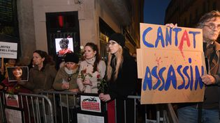 Manifestation à Montpellier contre un concert de Bertrand Cantat, 12 mars 2018  (PASCAL GUYOT / AFP)