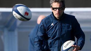 L'entraîneur du XV de France, Fabien Galthié, le 11 février 2021 à Marcoussis (Essonne). (FRANCK FIFE / AFP)