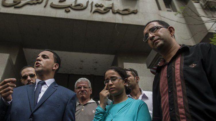 Mariam Malak devant le ministère de la Justice. (KHALED DESOUKI / AFP)