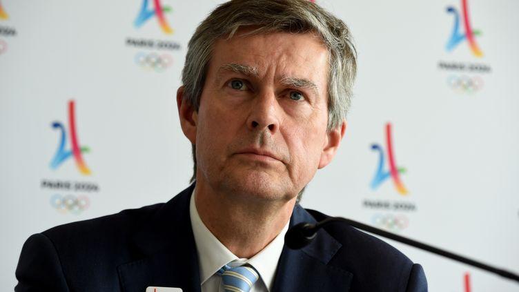 Pierre-Olivier Beckers, président de la Commission de coordination des JO-2024, lors d'un conférence de presse à Paris, le 19 juin 2018. (ERIC PIERMONT / AFP)
