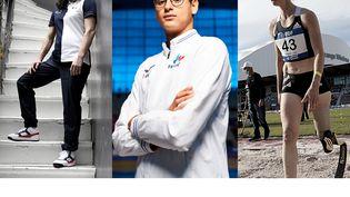 Sandrine Martinet, Ugo Didier et Marie-Amélie Le Fur (de g. à d.) sont autant de chances de médailles françaises aux Jeux paralympiques de Tokyo. (MILLEREAU Philippe / KMSP / AFP / Nicolas Vallauri / John Walton / MAXPPP)