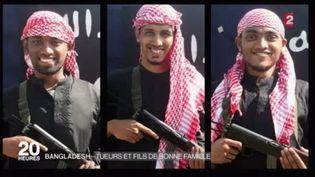 Capture d'écran montrant trois des terroristesislamistes qui ont attaqué un restaurant de Dacca (Bangladesh), le 1er juillet 2016 (FRANCE 2)