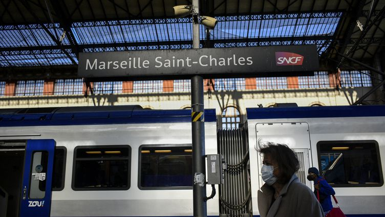 Un train en gare de Marseilles Saint Charles (Bouches-du-Rhône), le 3 février 2021. (MAGALI COHEN / HANS LUCAS / AFP)