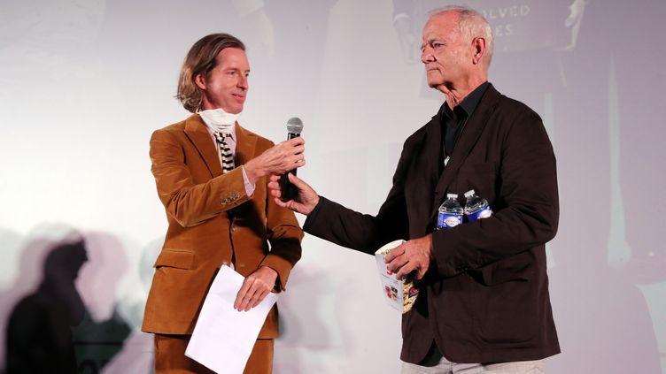 """Wes Anderson et Bill Murray à Angoulême le 17 octobre 2021 pour la présentation de """"The French Dispatch"""" (RENAUD JOUBERT / MAXPPP)"""