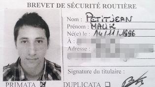Une photo du brevet de sécurité routière d'Abdel Malik Petitjean, un des deux terroristes auteurs de l'attentat de Saint-Etienne-du-Rouvray le 26 juillet 2016. (AFP)