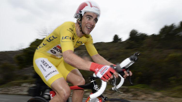 Tony Gallopin, en jaune au départ, n'a pas résisté à Richie Porte lors de la dernière étape de Paris-Nice. (DIRK WAEM / BELGA MAG)