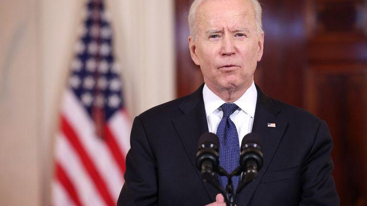 Le président américain, Joe Biden, s'exprime depuisla Maison Blanche, à Washington, le 20 mai 2021. (ANNA MONEYMAKER / GETTY IMAGES NORTH AMERICA / AFP)