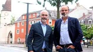 Gilles Boyer et Edouard Philippe posent devant la tour du Bollwerk à Mulhouse (Alsace), le 6 juillet 2021 (SZUSTER DAREK / MAXPPP)