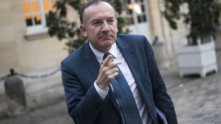 Pierre Gattaz arrive à Matignon, le 25 novembre 2013, pour une réunion sur la réforme fiscale. (FRED DUFOUR / AFP)
