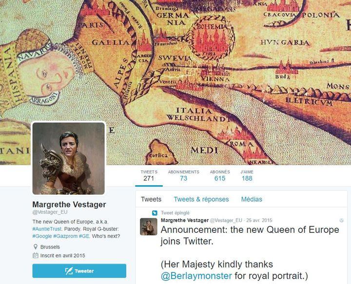 Capture d'écran d'un compte Twitter parodique de Margrethe Vestager. (TWITTER)