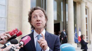 Stéphane Bern fin mai 2018, lors de la présentation des 18 projets sélectionnés pour le Loto du Patrimoine.  (ludovic MARIN / AFP)