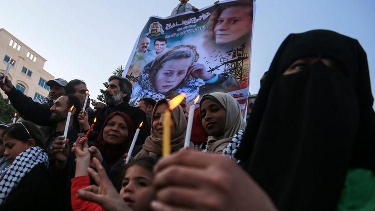 Un rassemblement le 8 janvier à Gaza, en faveur de la jeune Ahed Tamimi, 16, ans, arrêtée le 19 décembre 2017 àNabi Saleh, en Cisjordanie. (MAXPPP)