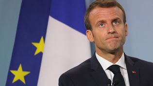 Emmanuel Macron, le 9 juin 2018, à La Malbaie (Canada), lors du sommet du G7. (LUDOVIC MARIN / AFP)
