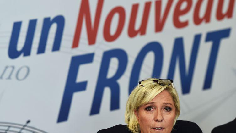 La présidente du Front national, Marine Le Pen, durant une conférence de presse à Carpentras (Vaucluse), le 8 octobre 2017. (ANNE-CHRISTINE POUJOULAT / AFP)