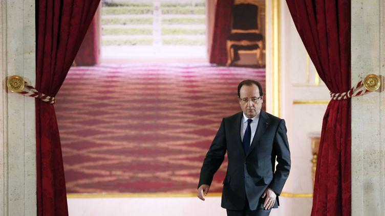 François Hollande, le 16 mai à l'Elysée. (PATRICK KOVARIK / AFP)