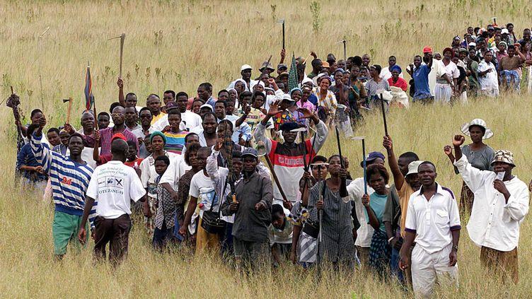 A la demande du président Mugabe, la population Zimbabwéenne occupe les terres appartenants aux fermiers blancs. Photo réalisé le 13 avril 2000 près de la capitale Harare. (POOL OLD / X00510)