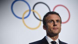 Le président français Emmanuel Macron s'exprime lors d'une conférence de presse au musée olympique de Lausanne (Suisse), le 10 juillet 2017. (SEBASTIEN BOZON / AFP)